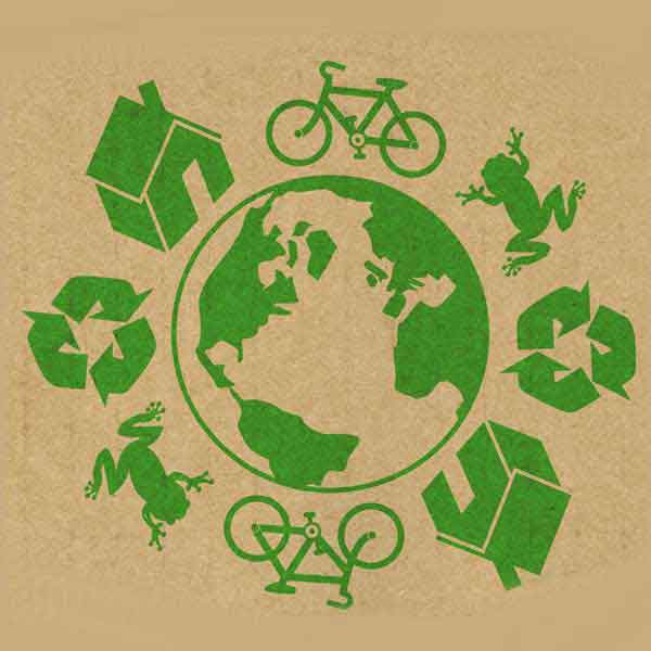 Recycling & Eco Symbols and Brown Papaer Background