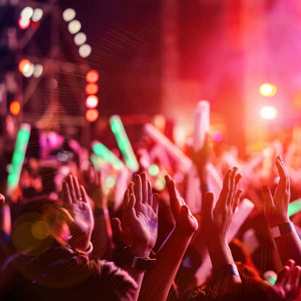 Music Festival With Hands In The Air