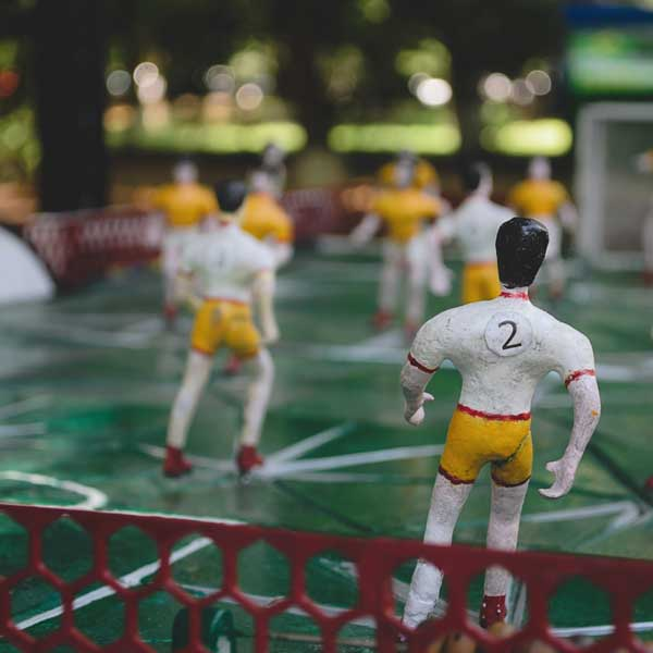 Closeup of Retro Table Football Table
