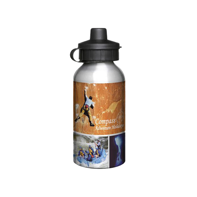 400ml Full Colour Aluminium Sports Bottle - Silver