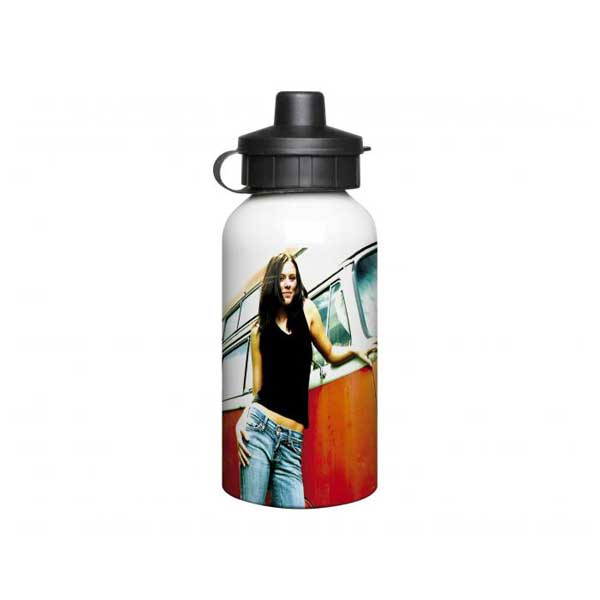 400ml Full Colour Aluminium Sports Bottle - White