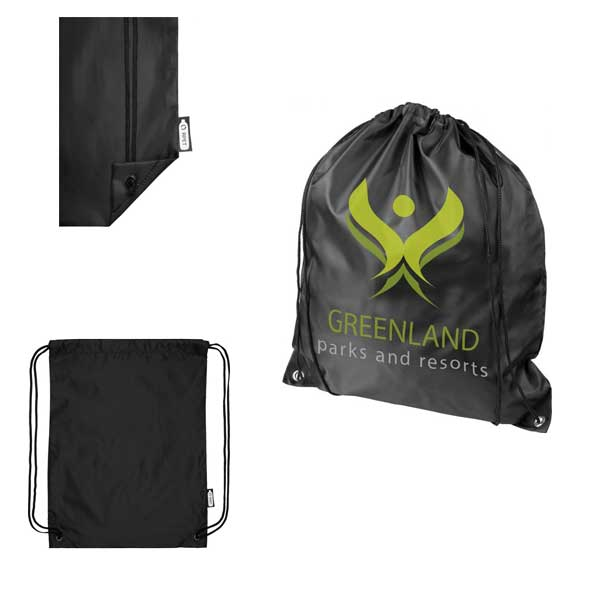 Black Oriole Recycled Drawstring Backpack