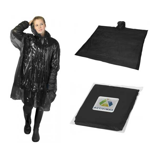 Black Ziva Rain Poncho With Pouch