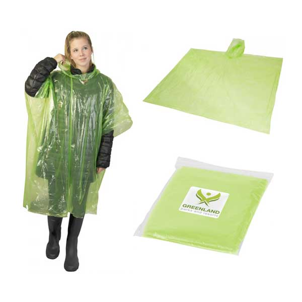 Lime Green Ziva Rain Poncho With Pouch