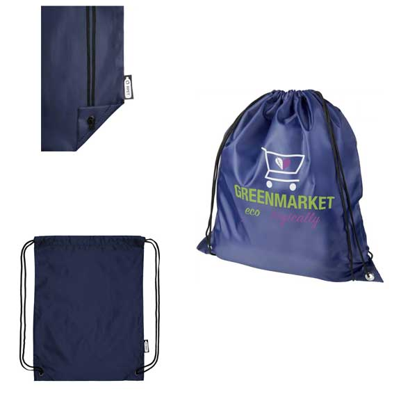 Navy Blue Oriole Recycled Drawstring Backpack