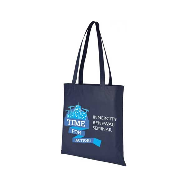 Navy Blue Zeus Large Non-woven Tote Bag