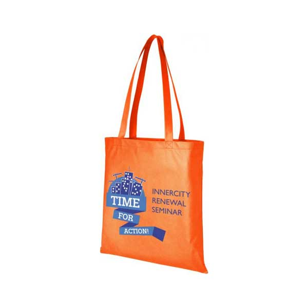 Orange Zeus Large Non-woven Tote Bag