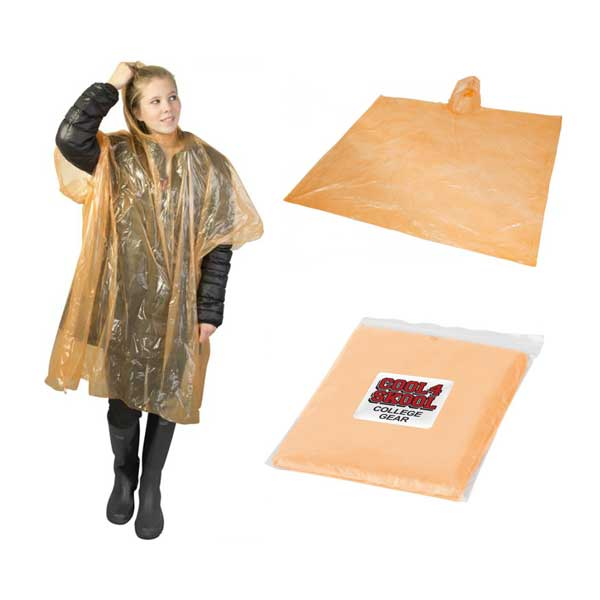 Orange Ziva Rain Poncho With Pouch