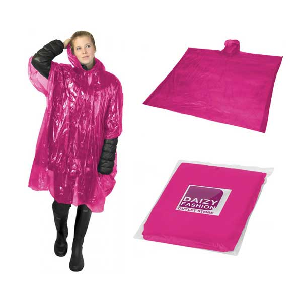 Pink Ziva Rain Poncho With Pouch