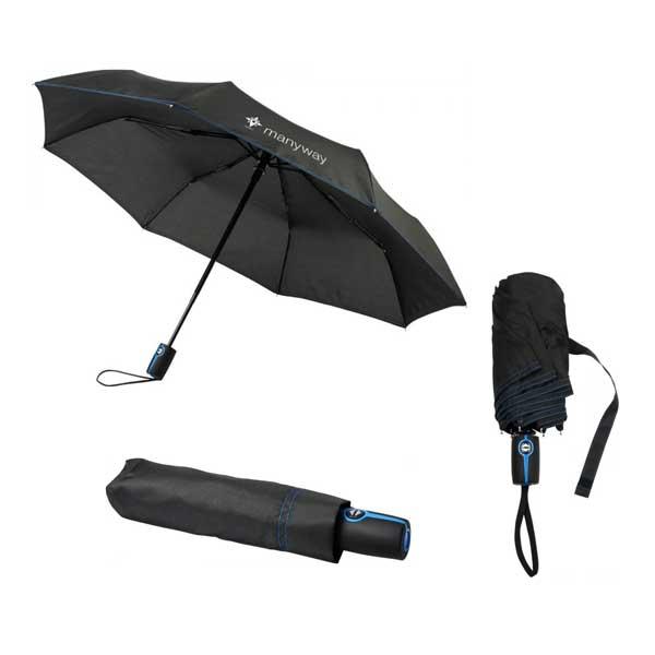 Black & Process Blue Stark Mini Foldable Umbrella