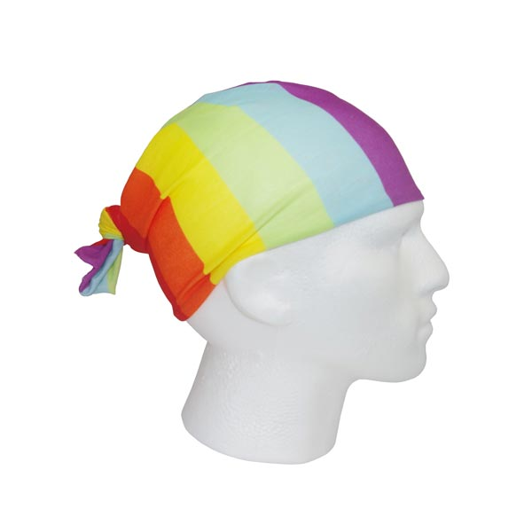 Rainbow Bandana - Worn As Cap/Beanie