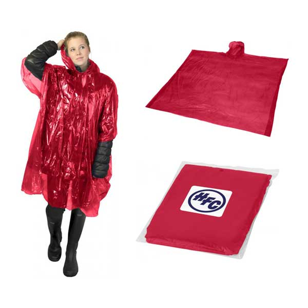 Red Ziva Rain Poncho With Pouch
