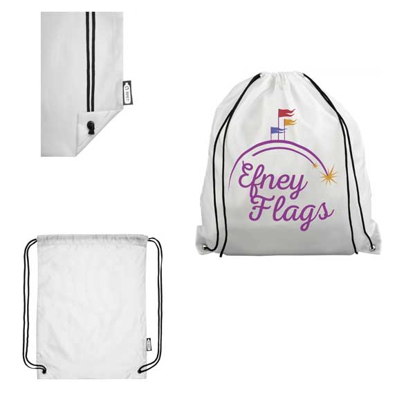 White Oriole Recycled Drawstring Backpack