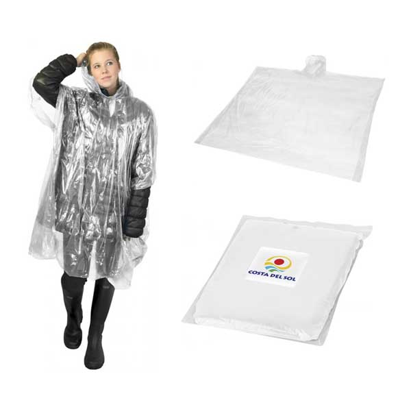 White Ziva Rain Poncho With Pouch