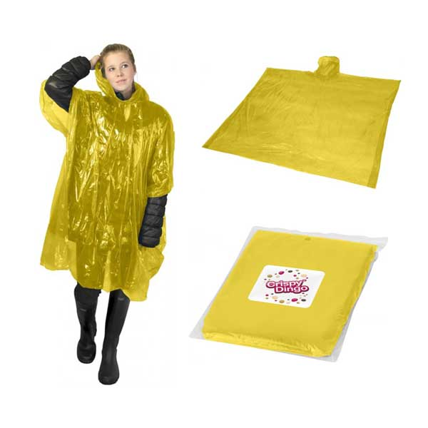 Yellow Ziva Rain Poncho With Pouch